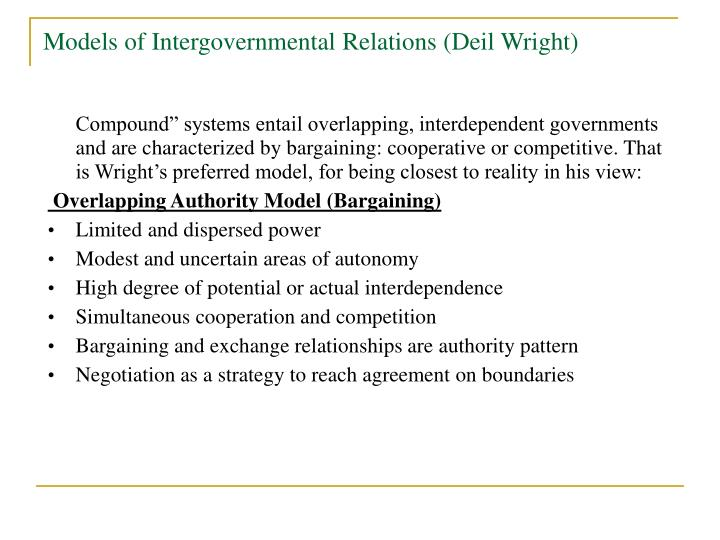 Models of Intergovernmental Relations (Deil Wright)