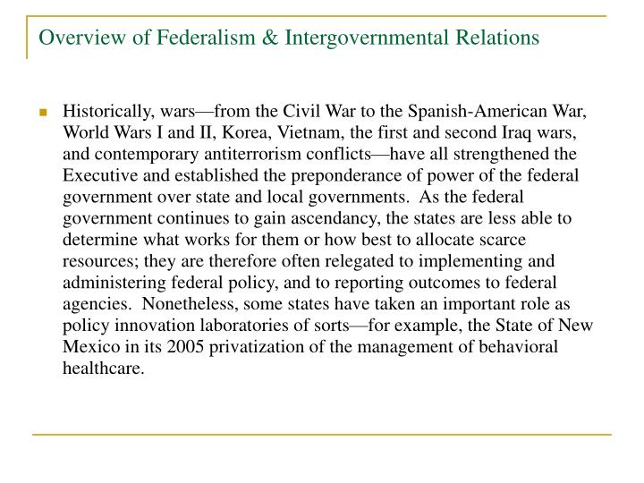 Overview of Federalism & Intergovernmental Relations