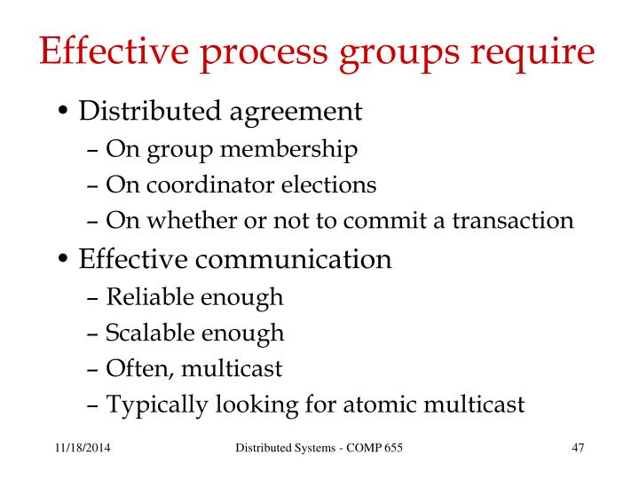Effective process groups require