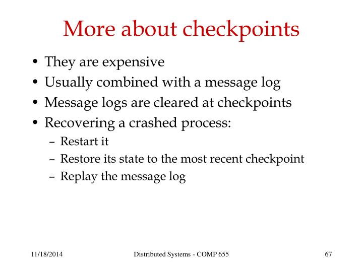 More about checkpoints