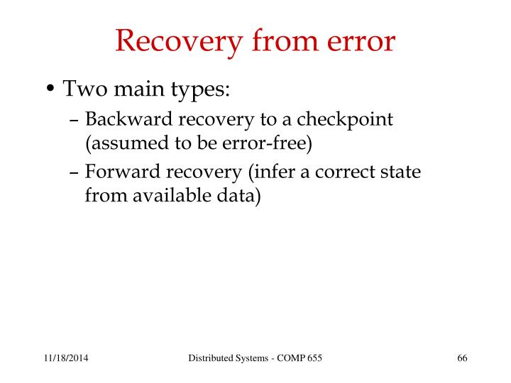Recovery from error