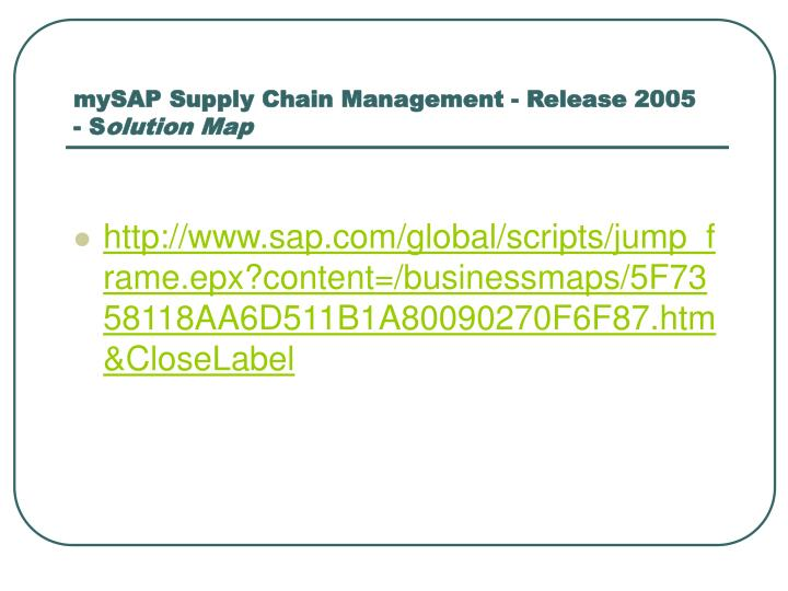 mySAP Supply Chain Management - Release 2005
