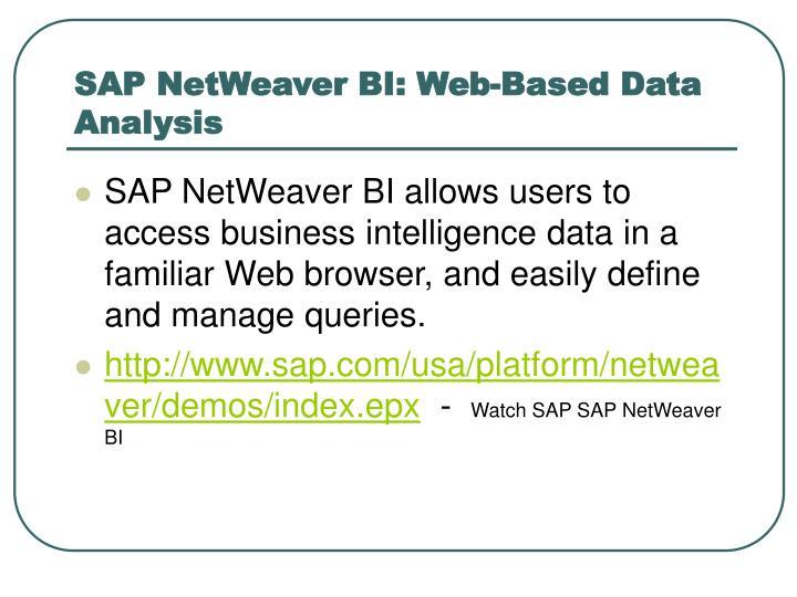 SAP NetWeaver BI: Web-Based Data Analysis