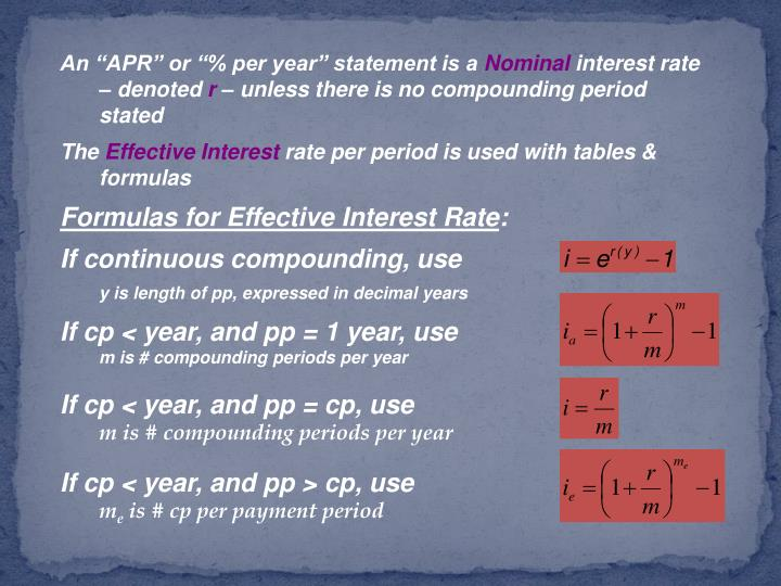 """An """"APR"""" or """"% per year"""" statement is a"""