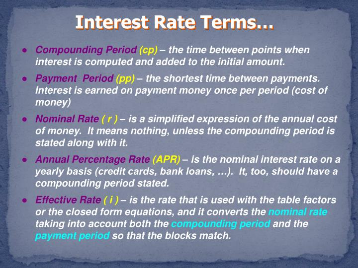 Interest Rate Terms…