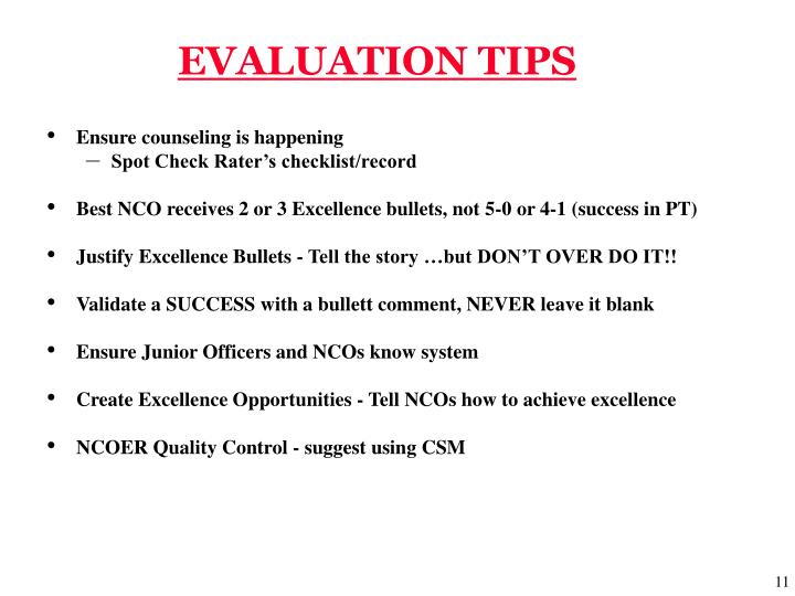 EVALUATION TIPS