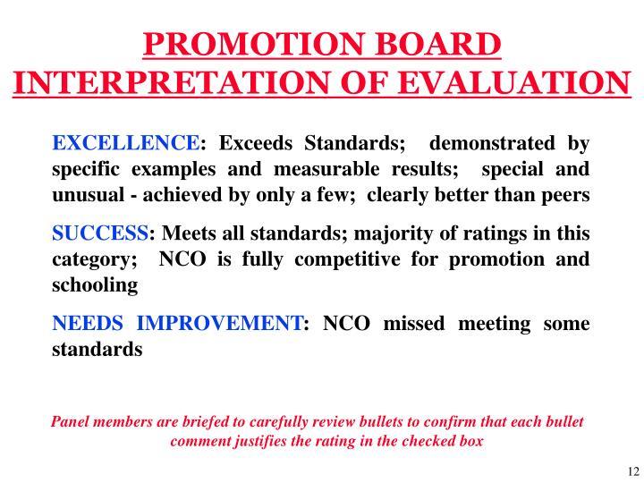 PROMOTION BOARD INTERPRETATION OF EVALUATION