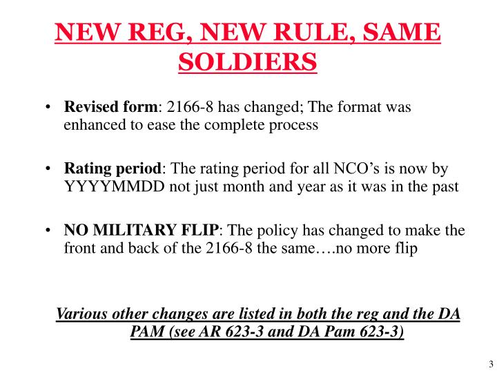 NEW REG, NEW RULE, SAME SOLDIERS