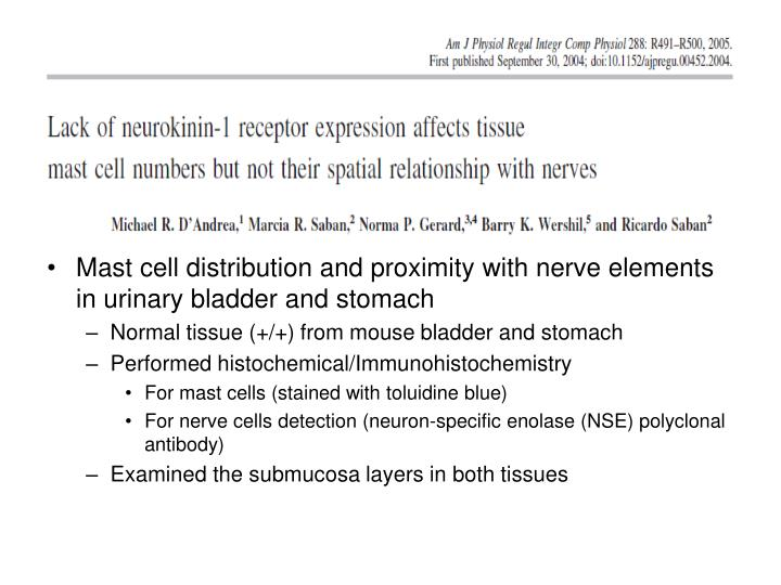 To examine the Proximity of Mast to Nerve cell
