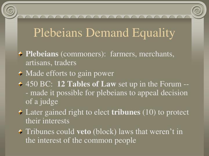 Plebeians Demand Equality
