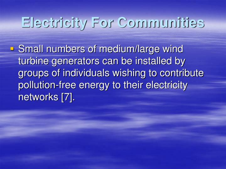 Electricity For Communities