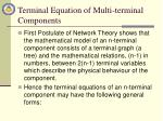 terminal equation of multi terminal components