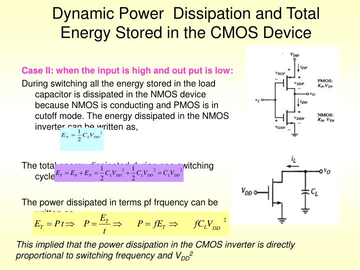 Dynamic Power  Dissipation and Total Energy Stored in the CMOS Device