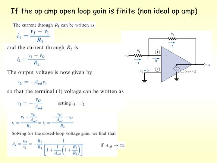 If the op amp open loop gain is finite (non ideal op amp)