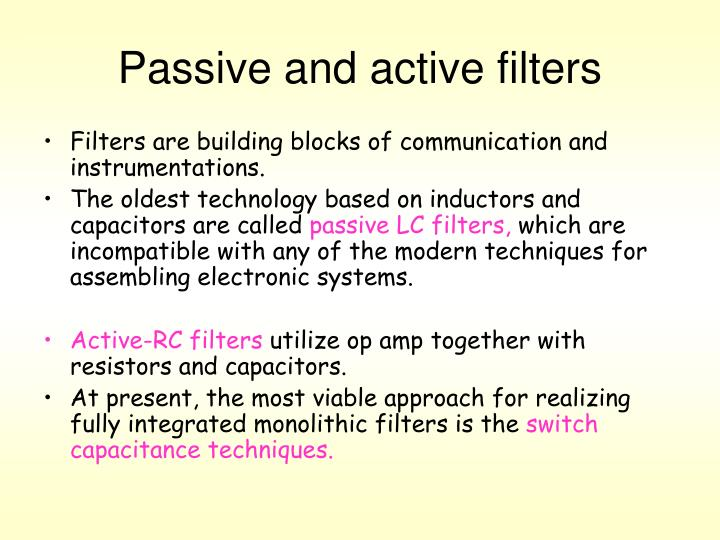 Passive and active filters