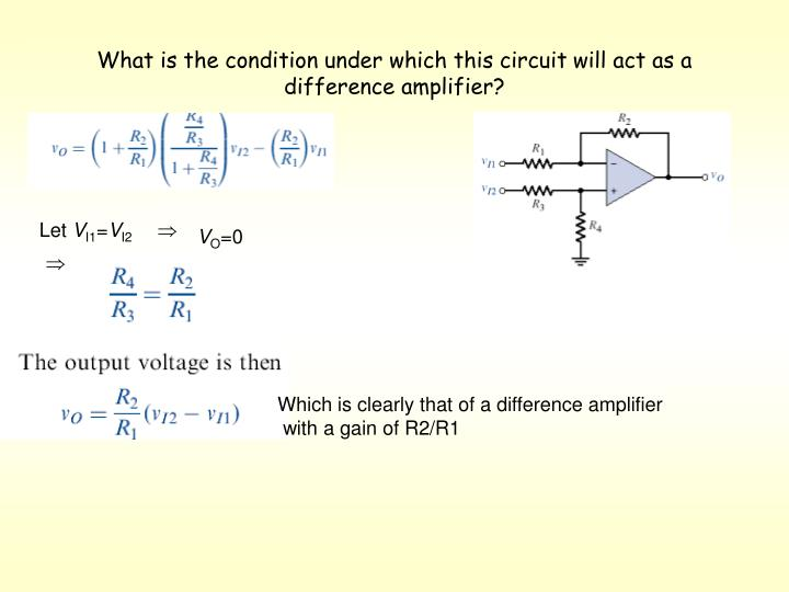 What is the condition under which this circuit will act as a difference amplifier?