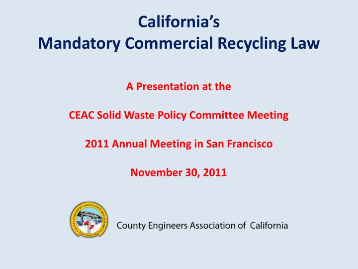 california s mandatory commercial recycling law n.