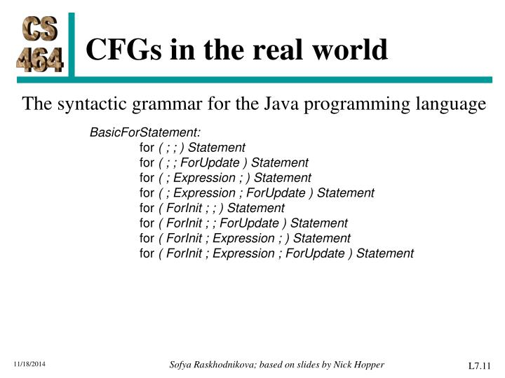 CFGs in the real world