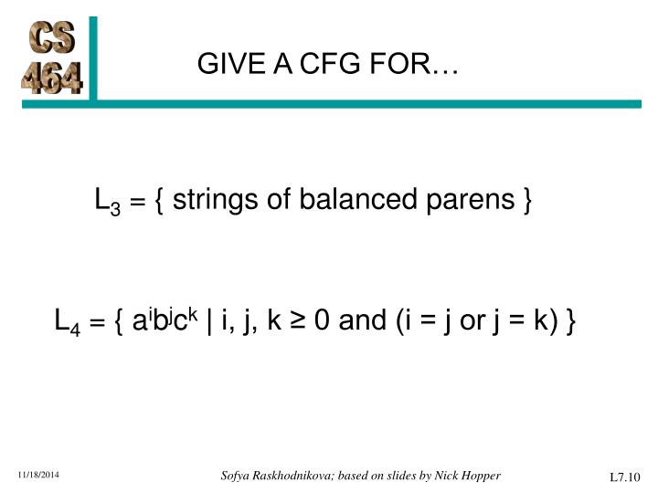 GIVE A CFG FOR…