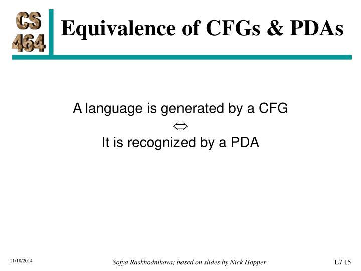 Equivalence of CFGs & PDAs