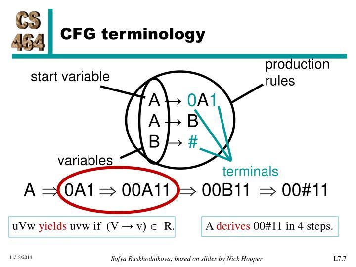 CFG terminology