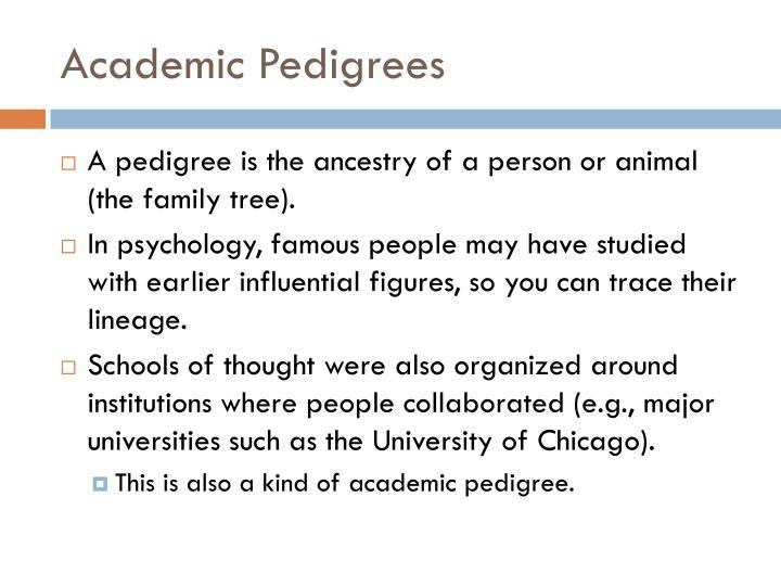 Academic Pedigrees