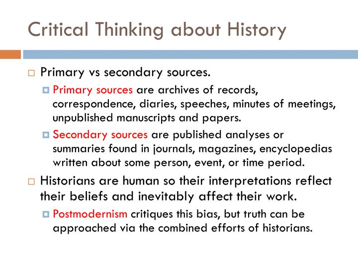 Critical Thinking about History