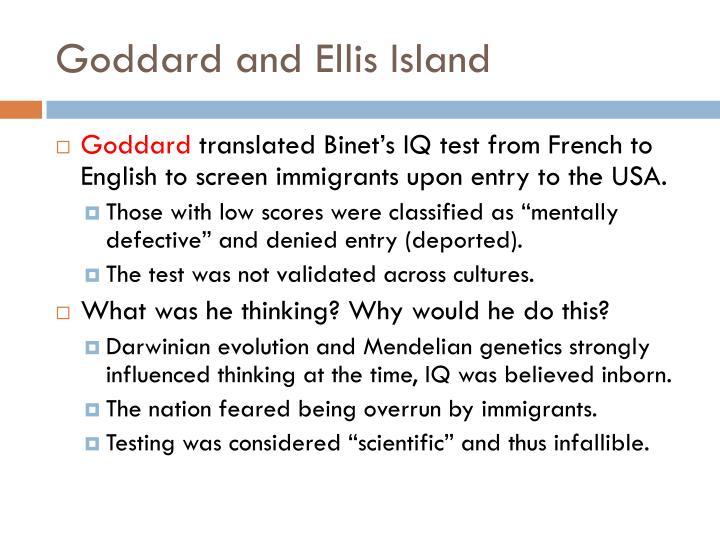 Goddard and Ellis Island