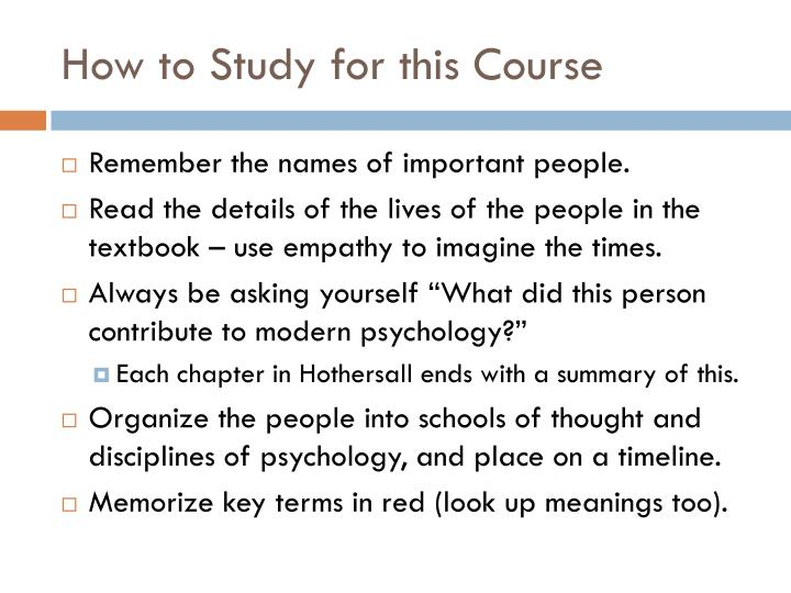 How to Study for this Course