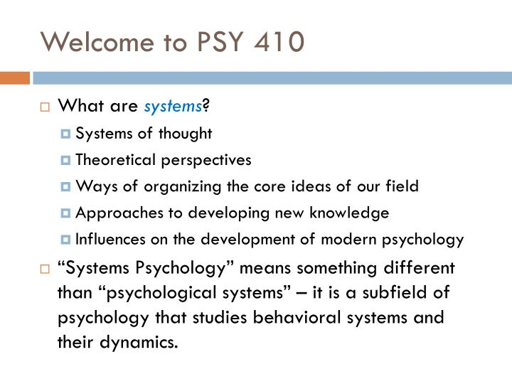 Welcome to psy 410