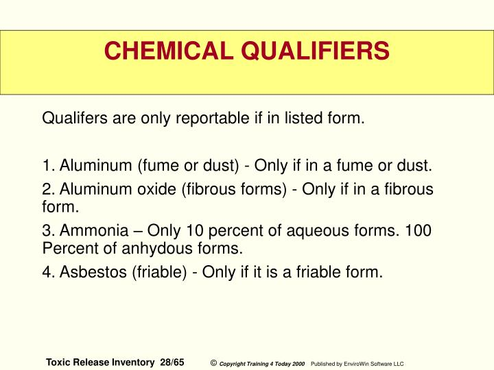 Qualifers are only reportable if in listed form.