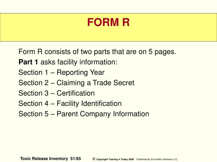 Form R consists of two parts that are on 5 pages.