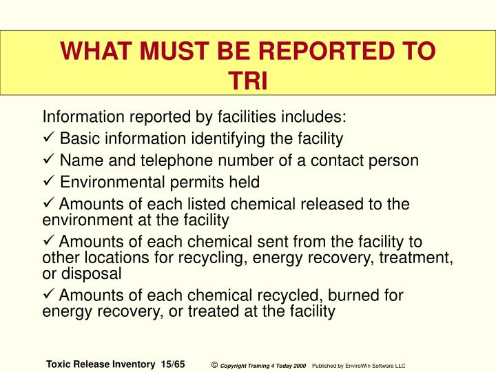 Information reported by facilities includes: