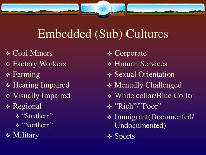 Embedded sub cultures