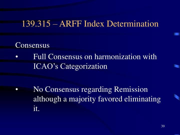 139.315 – ARFF Index Determination