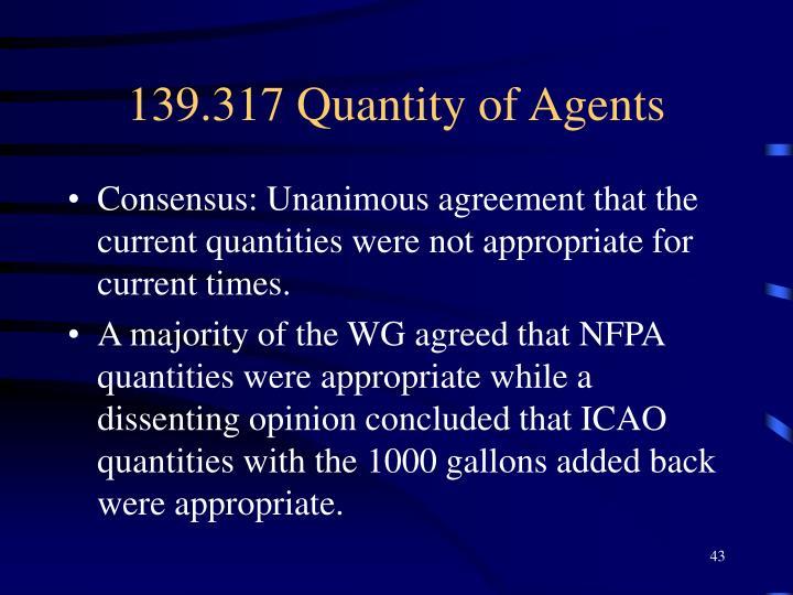 139.317 Quantity of Agents