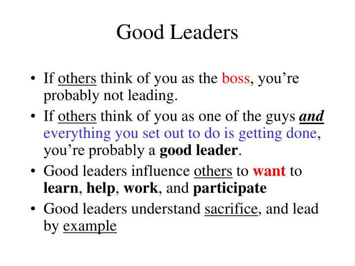 Good Leaders