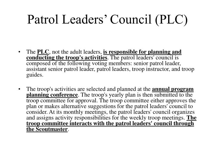 Patrol Leaders' Council (PLC)
