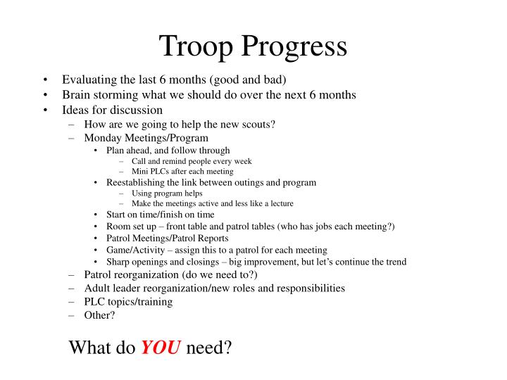 Troop Progress