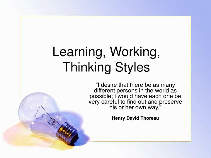 learning working thinking styles n.