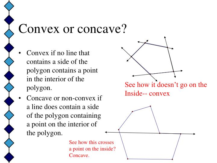 Convex if no line that contains a side of the polygon contains a point in the interior of the polygon.