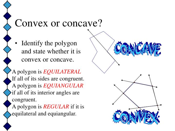 Identify the polygon and state whether it is convex or concave.