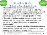 compliant goals behavior social skills cont