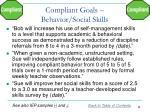 compliant goals behavior social skills