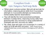 compliant goals life adaptive self help skills