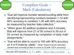 compliant goals math calculation