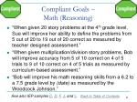 compliant goals math reasoning