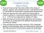 compliant goals motor fine