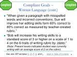compliant goals written language cont
