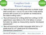 compliant goals written language